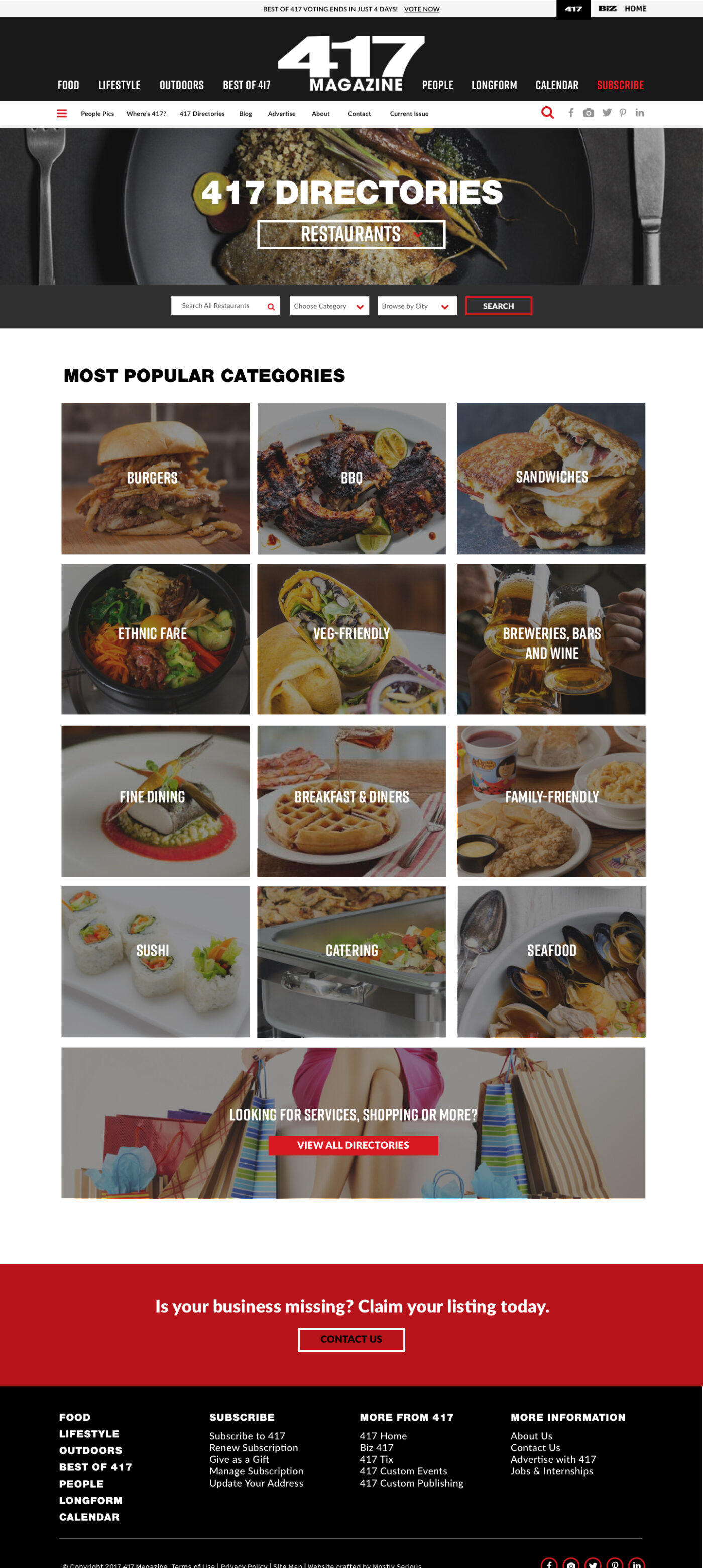 Dining Guide Landing Page